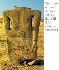 Guerriero sarmata, scultura del sito Bajte III (foto Zainolla Samasev)