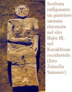 Scultura raffigurante un guerriero sarmata rinvenuta nel sito Bajte II