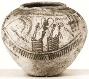 Vaso con nave da carico di Naqada II predinastico egizio