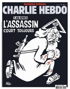 An undated handout picture provided by Majorelle PR Agency on 04 January 2016 shows the cover of the special issue #1224 of the French satirical weekly Charlie Hebdo with a cartoon of a bearded god carrying a kalashnikov reading '1 an apres. L'assassin court toujours' (lit: One year later.The murderer is still on the run). The frontpage and the editorial by Chief Editor Riss to be published on 06 January 2016 aims to condemn religious fanatism. A series of national commemorations will mark the first anniversary of the terror attacks at the Charlie Hebdo offices that took place on 07 January 2015. ANSA /CHARLIE HEBDO/MAJORELLE PR/HANDOUT HANDOUT EDITORIAL USE ONLY/NO SALES