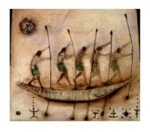 Nave neolitica guidata a pertica come i fassoisi sardi