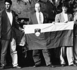 Giulio Ferrari, Franco Rocchetta e Umberto Bossi[2]