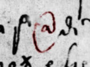 Ingrandimento del simbolo misura di capacità trovato in un documento mercantile del 500 durante la Veneta Serenissima Repubblica
