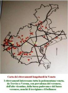 carta ritrovamenti longobardi in Veneto